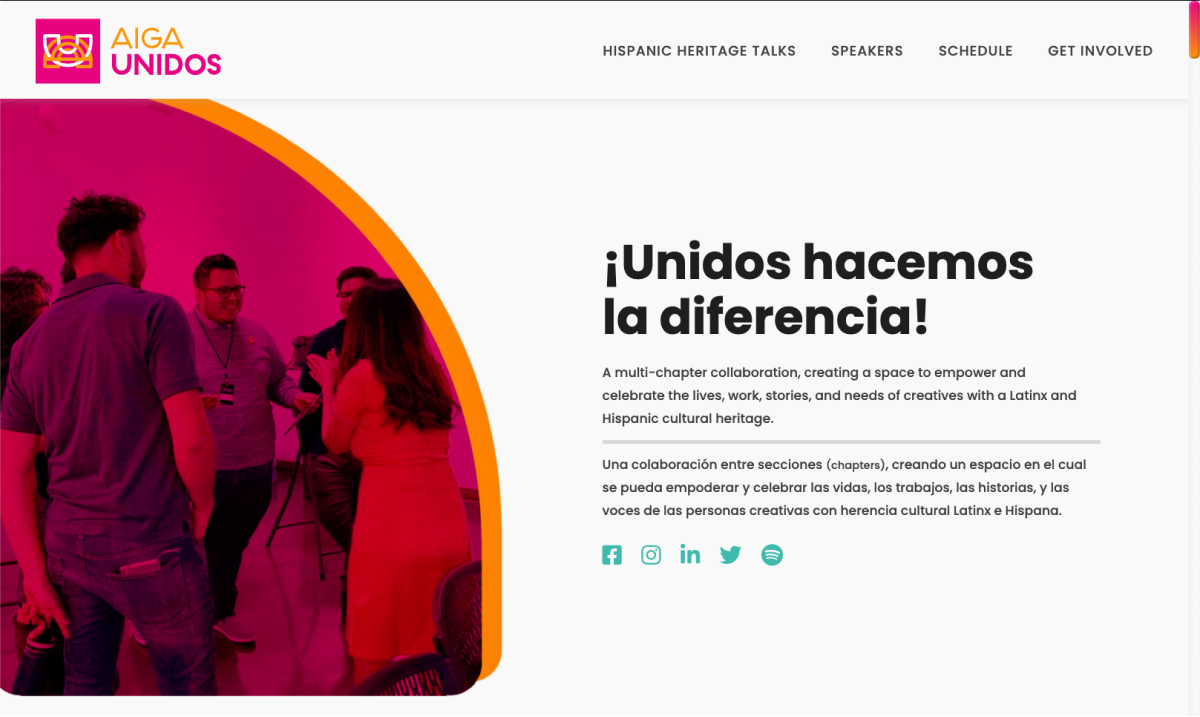 AIGA Unidos' website header